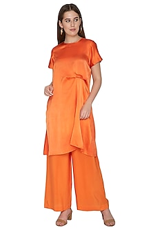 Peach Pleated Tunic With Trousers by Stephany