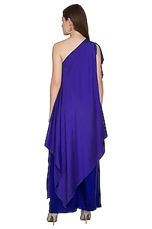 Purple Draped One Shoulder Dress With Trousers by Stephany