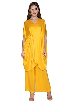 Yellow Tunic With Attached Belt & Trousers by Stephany