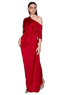 Fuchsia One Shoulder Style Dress With Belt by Stephany