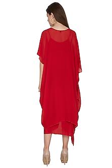 Red Midi Dress With Slip by Stephany