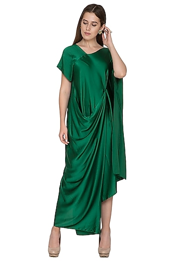 Emerald Green Draped Dress by Stephany
