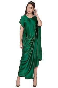 Emerald Green Draped Dress by Stephany