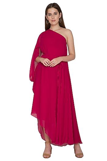 Fuchsia One Shoulder Draped Dress by Stephany