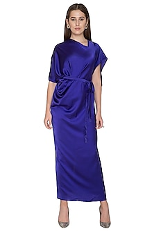 Purple Two Way One Shoulder Dress With Belt by Stephany