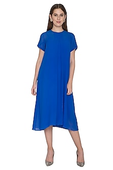 Cobalt Blue Pleated Tunic With Slip by Stephany