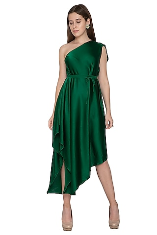 Emerald Green Midi Dress With Belt by Stephany