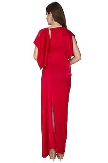 Fuchsia One Shoulder Silk Dress With Belt by Stephany
