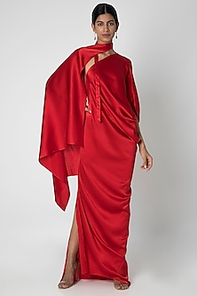 Red One Shoulder Dress With Drape Cover-Up by Stephany