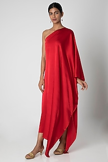 Red One Shoulder Maxi Dress by Stephany