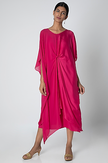Fuchsia Midi Dress With Slip by Stephany