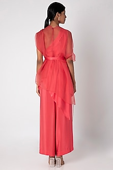 Peach Pink One Shoulder Tunic Set With Belt by Stephany