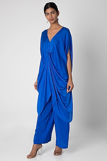 Cobalt Blue Tunic With Trousers by Stephany