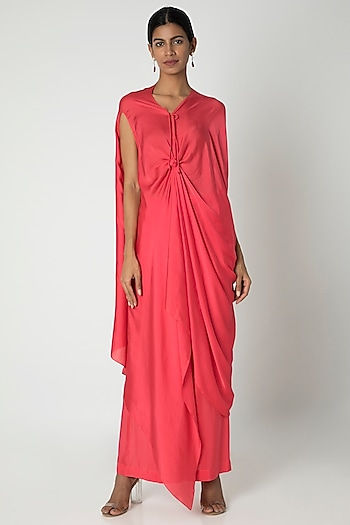 Peach Pink Tie-Up Dress With Trousers by Stephany