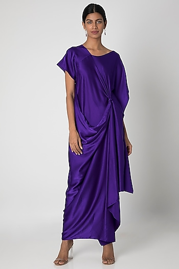 Purple One Shoulder Draped Dress by Stephany