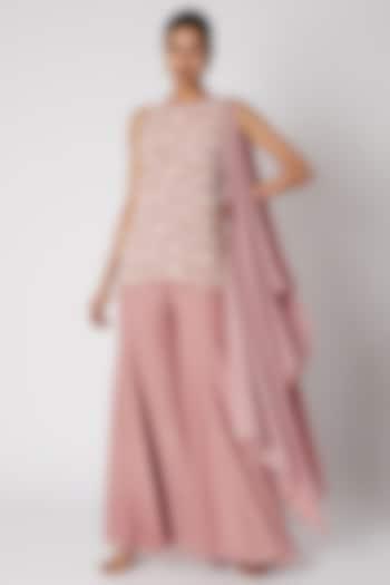 Blush Pink Embroidered Sharara Set by Shruti Ranka