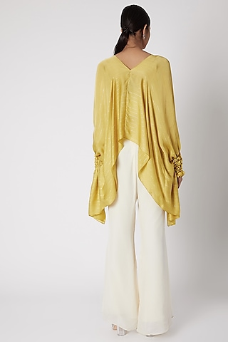 Yellow Embroidered Tunic With Pants by Shruti Ranka