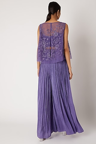 Purple Embroidered Cape With Bustier & Pleated Pants by Shruti Ranka