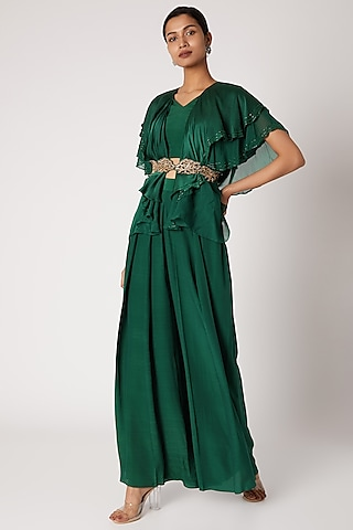 Emerald Green Crop Top With Pants & Belt by Shruti Ranka