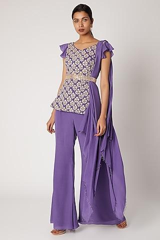 Purple Embroidered Tunic Set With Belt by Shruti Ranka