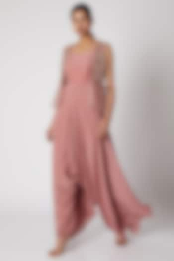 Dusty Pink Cowl Jumpsuit With Jacket by Shruti Ranka