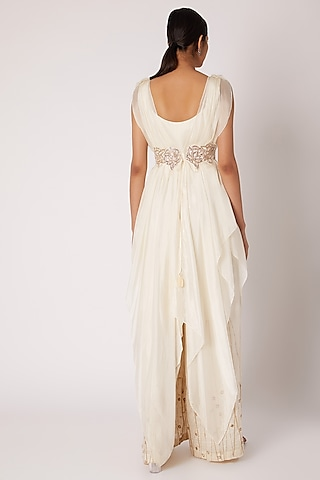 Ivory Embroidered Jumpsuit With Cape & Belt by Shruti Ranka
