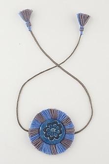 Blue Beaded Textiles Handmade Rakhi With Pouch by Sartorial by Swati-SEND RAKHIS TO AUSTRALIA