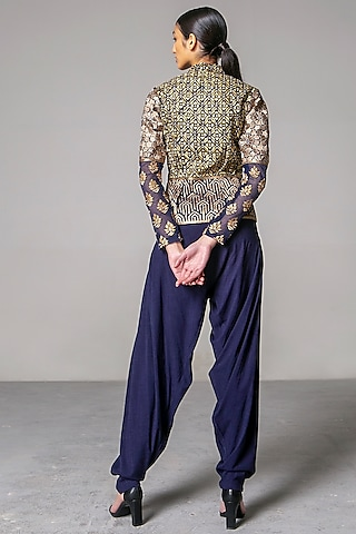 Navy Blue Patiala Pants by Siddartha Tytler