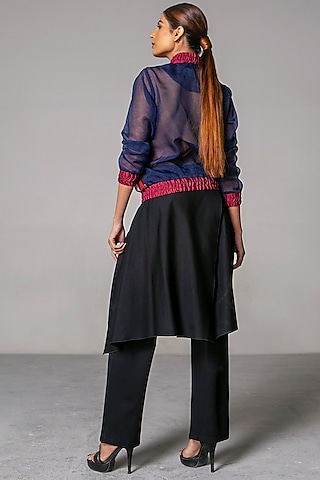 Black Double Knitted Pants With Flaps by Siddartha Tytler