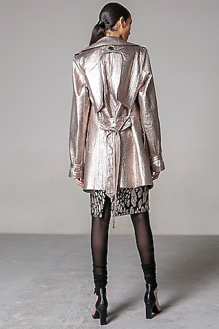 Metallic Gold Quilted Trench Coat by Siddartha Tytler