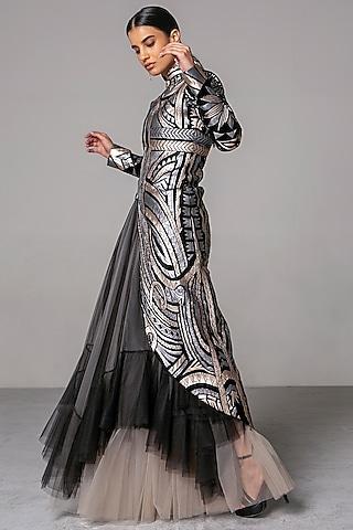 Nude & Black Floral Asymmetric Skirt by Siddartha Tytler
