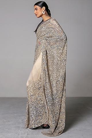 Nude & Grey Sequins Saree Set by Siddartha Tytler