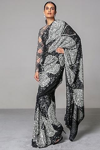 Black & Grey Sequins Saree Set by Siddartha Tytler