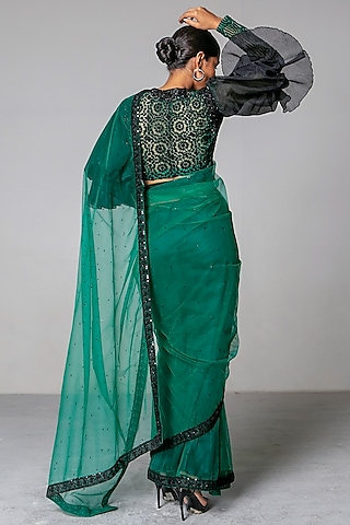 Emerald Green & Black Embroidered Saree Set by Siddartha Tytler