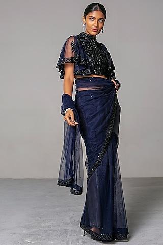 Navy Blue Embroidered Saree Set by Siddartha Tytler