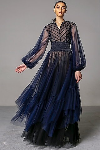 Navy Blue Layered Gown by Siddartha Tytler