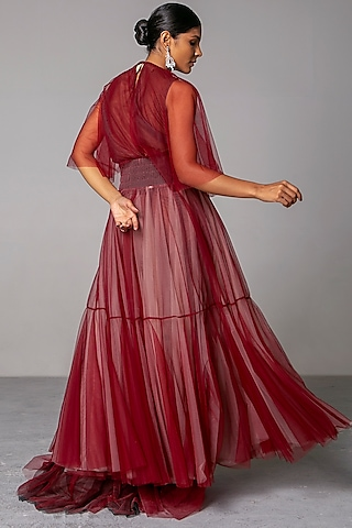 Maroon Layered Gown by Siddartha Tytler