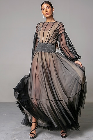 Black & Nude Layered Gown by Siddartha Tytler