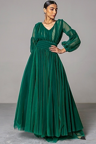 Emerald Green Layered Gown by Siddartha Tytler
