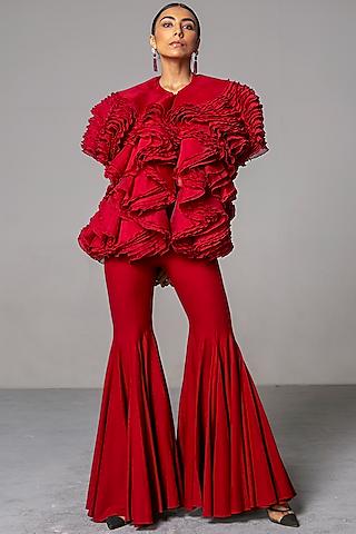 Red Bell Bottom Pants by Siddartha Tytler