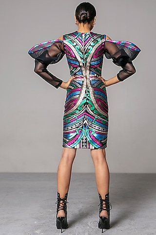 Multi Colored Appliques Dress by Siddartha Tytler