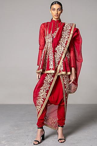 Maroon Embroidered Anarkali Set by Siddartha Tytler