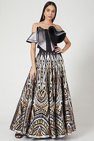 Black & Golden Quilted Skirt Set by Siddartha Tytler