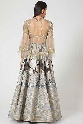 Grey Printed Lehenga With Sequins Blouse by Siddartha Tytler