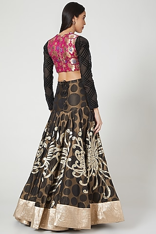 Black Floral Lehenga Set With Embroidered Blouse by Siddartha Tytler