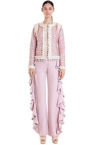 Blush Pink Hand Embroidered Crop Jacket by Siddartha Tytler