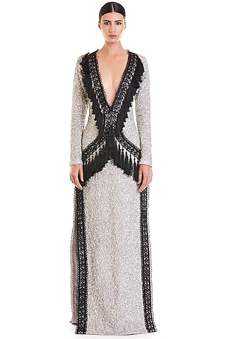 Pewter & Black Hand Embroidered Maxi Dress by Siddartha Tytler