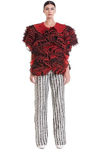 Red & Black Jacket With Frills by Siddartha Tytler