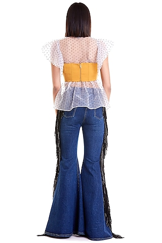 Mustard Quilted Bustier by Siddartha Tytler