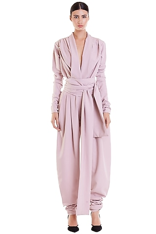 Blush Pink Jumpsuit With Belted Sash by Siddartha Tytler